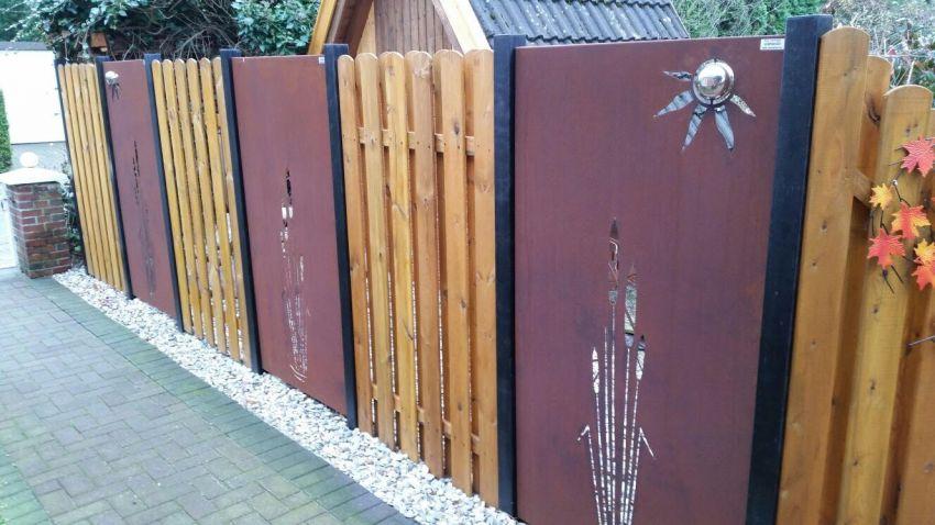 design sichtschutzwand gartenzaun rostelement sw001 ohne zubehör, Garten seite