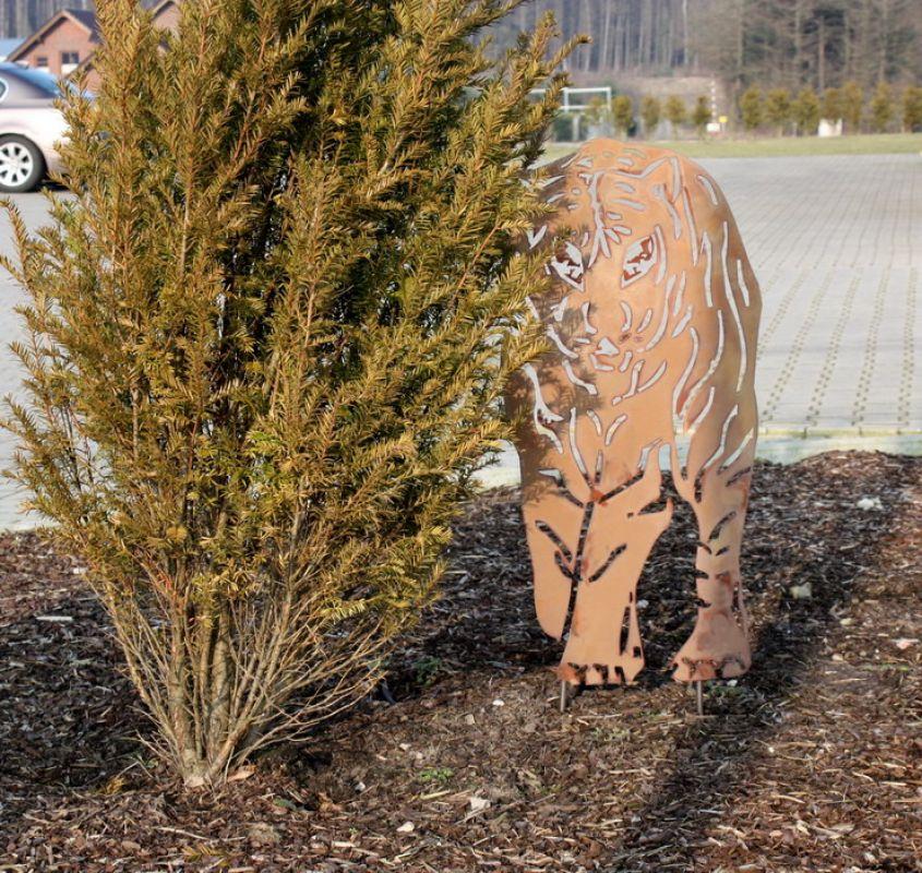 Tiger figur rost rostfigur gartenstecker gartenfigur for Rost gartenstecker