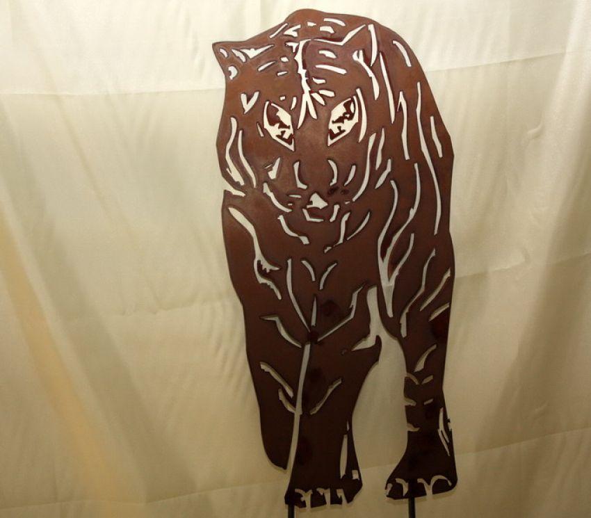 Tiger figur rost rostfigur gartenstecker gartenfigur for Edelrost gartenstecker